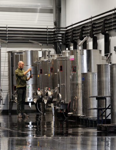 Processus de vinification à la cave Julien Pilon.